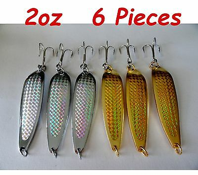 6 Pieces Casting 2oz Crocodile Spoons Gold & Silver Trolling Fishing Lures