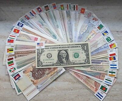 New Paper Money 100pcs World Banknotes UNC from 50 countries Flags Show