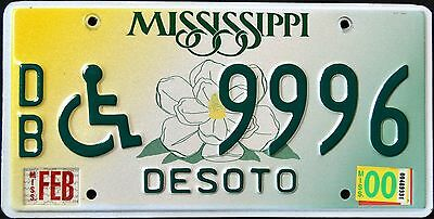 """MISSISIPPI """" MAGNOLIA HANDICAPPED - DISCONTINUED """" 2000 MS Graphic License Plate"""