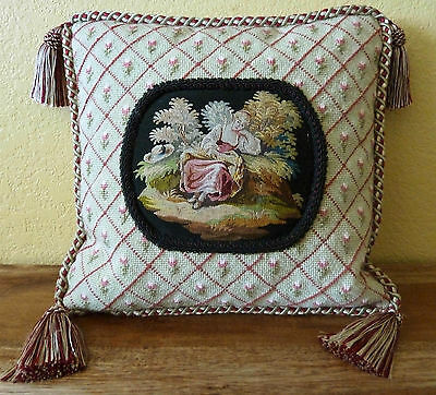 "Antique Aubusson Tapestry Framed in Needlepoint Custom Pillow - 12"" Square"