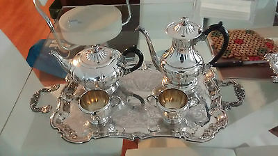 Vintage 5 Piece Viking Plate Coffee Pot Tea Sets With Tray By Kent Plate