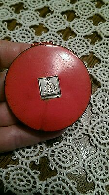 """Vintage House of Tre-Jur Compact """"Thinest"""" Red Metal Compact"""