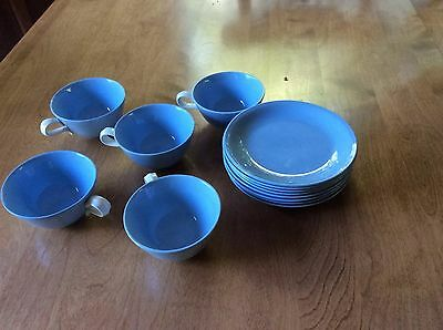 Mid-Century Homer Laughlin Skytone Baby Blue Cups and Saucers Set of 13