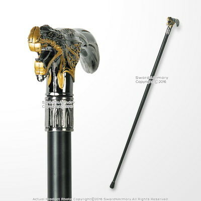 "36"" Golden Dragon T Head Cane Black Metal Shaft Gentleman Walking Stick"