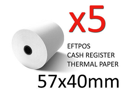 5X HIGH QUALITY THERMAL PAPER EFTPOS CASH REGISTER RECEIPT POS ROLLS 57MM x 40MM