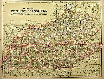 1905  KENTUCKY TENNESSEE Antique color  state map original authentic
