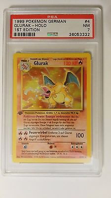GERMAN 1st Edition Base Set Pokemon HOLO Charizard #4/102 Graded PSA 7 NM