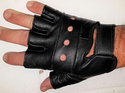New Finger-Less Motorcycle Cruiser Premium Leather Gloves