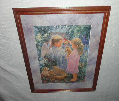 Home Interiors  '' Angel & Girl with Puppies '' Picture 18'' x 22''