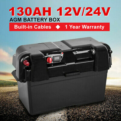 Battery Box AGM Deep Cycle 130AH Dual System 12V 100AH USB Ports Large Marine