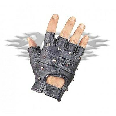 New Finger-Less Studded Motorcycle Cruiser Premium Leather Gloves