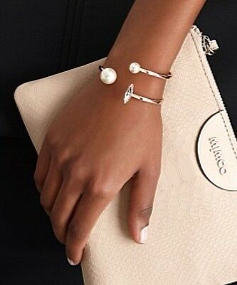 New �� Mimco Rose Gold Pearl Rendezvous Cuff Bracelet + Dust Bag