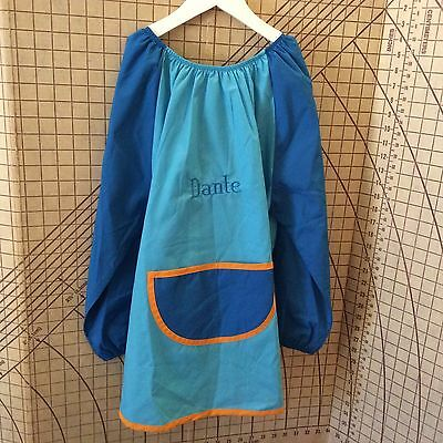 Blue personalised Polyester/Cotton Art Smock Size 5-7 choose your own name