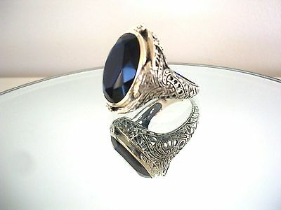 Sensational Natural 20Ct Sapphire Ring ~ Victorian Style  ~  Sterling Silver 925