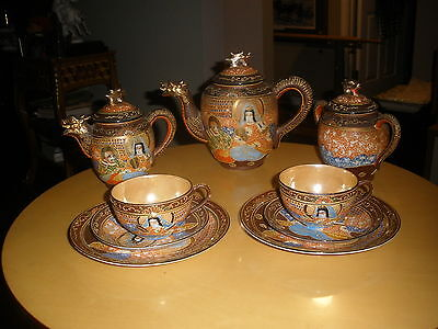 Vinage Handpainted Kutani Japan Emperor Empress Coffee Tea Dessert Set 12 pc.