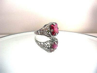 Stunning Natural 5Ct Ruby  Art Deco Style Ring ~ Sterling Silver Stamp 925