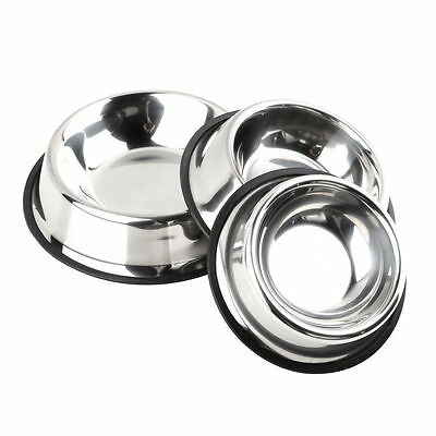 S/M/L/XL Stainless Steel No tip Non SLIP Dog Puppy Pet Food Water Bowl Dish E5