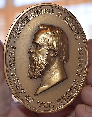 """Oval President Rutherford B. Hayes  Sold Out Mint Bronze Medal 3""""  X 2 3/8"""""""