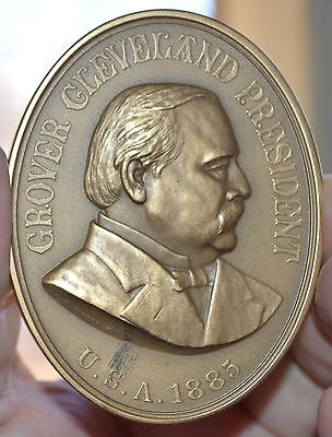 """Oval President Grover Cleveland 1885  Sold Out Mint Bronze Medal 3""""  X 2 3/8"""""""