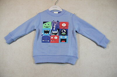 Baby Boy Size 00,0,1,2 Milky Winter Blue Jumper With Monster Graphics NWT