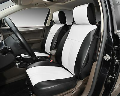 2 Front Car Seats Covers Black//White PU Leather #209s for Audi