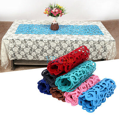 7Colors Hollow Felt Tablecloth Runner Placemats Table Mats Household Decorations
