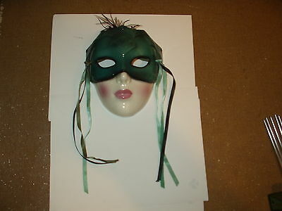 Ceramic Female Masquerade Mask(wall hanging,knick knack,collectible,party,