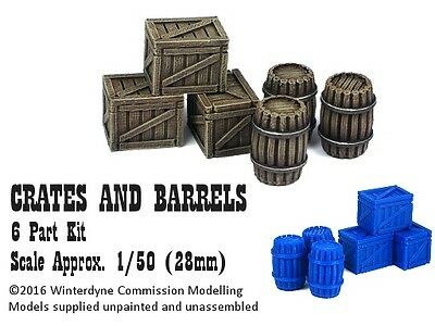 O/On30/1:48/28mm/32mm 3d printed Crates & Barrels (3 of each)