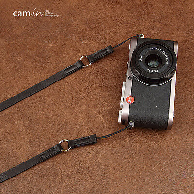 Dark Brown Leather Cam-in Camera Strap with ring & loop connections UK Stock