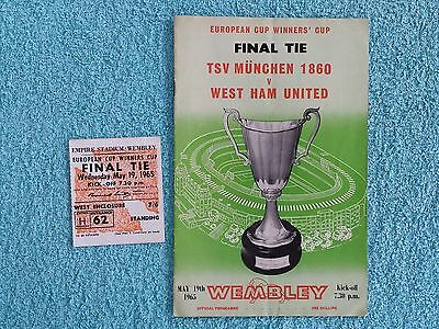 1965 - CUP WINNERS CUP FINAL PROGRAMME + MATCH TICKET - TSV MUNCHEN v WEST HAM