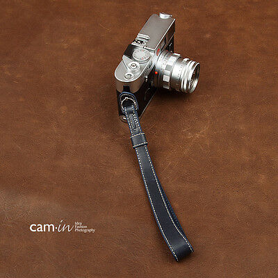 Navy blue leather Cam-in camera wrist strap w/ ring connection CAM2034 UK Stock
