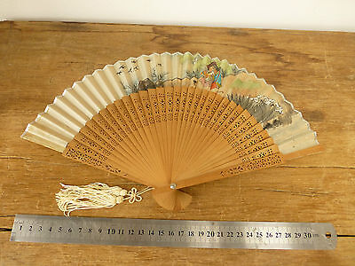 Vintage Oriental Hand Painted Wooden Fan with Box