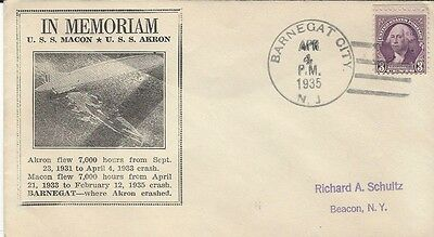 1935 In Memoriam USS Macon & USS Akron with Barnegat City,NJ cancel