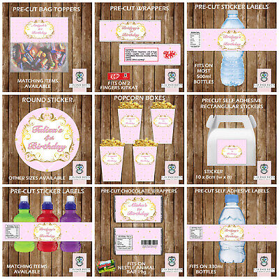 Personalised Luxury Pink Gold White Water Bottle Labels Birthday Party Favours