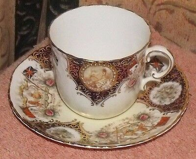 Vintage  Edward Vii And Alexandra Cup And Saucer 1902