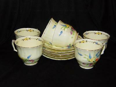 Set of 6 Hand Painted Crown Staffordshire Cups & Saucers (Design number 715250)