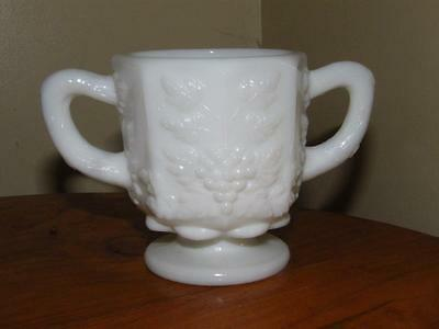 Vintage Westmoreland Milk Glass Two Handled Loving Cup with Grape & Vine Design