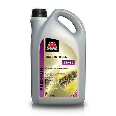 Millers Oil TRX 75w80 Fully Synthetic Manual Gearbox Oil 5ltr