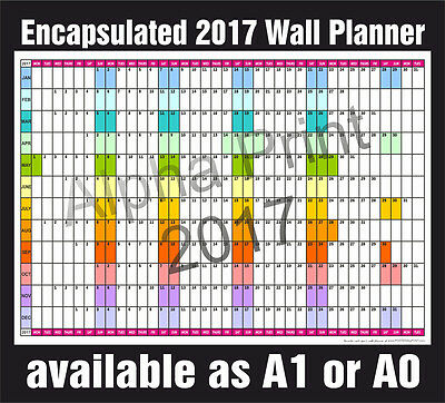 Dry Wipe Laminated 2017 PLANNER Office Organiser, Wall Chart  -  A1, A0