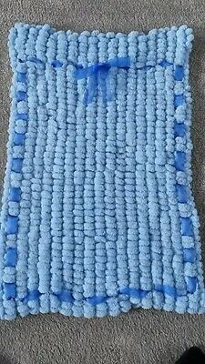 HAND KNITTED Baby Blanket Blue pompom SALE