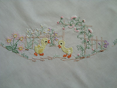 Vintage Easter Embroidered Linen decorative Tablecloth -Lovely Duckling & Flower