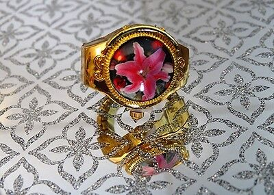 Adjustable Gold Effect with Flower Quartz Finger Ring Watch Floral Gift Women