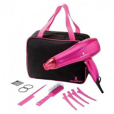 Lee Stafford Blow Dry & Go Professional Hair Dryer, Brush, Comb,  Clips Gift Set