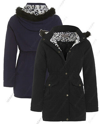 NEW GIRLS JACKET FUR COAT Quilted HOODED PARKA SCHOOL AGE 7 8 9 10 11 12 13
