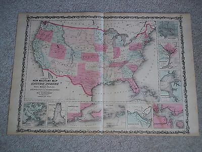 1862 Antique Original Johnson  Hand-Colored Map  MILITARY MAP OF UNITED STATES