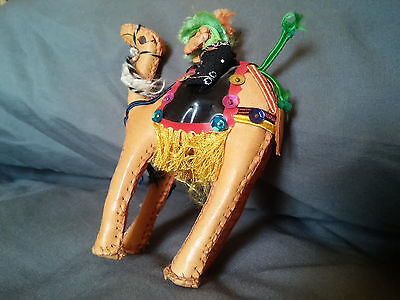 Vintage HAND STITCHED LEATHER CAMEL FIGURINE With Rider - 5""