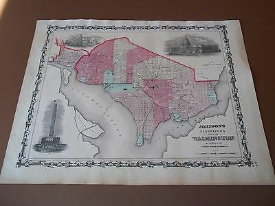 1862 Antique Original Johnson Ward Hand-Colored Map of WASHINGTON DC GEORGETOWN