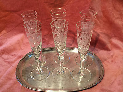 Antique Russian Imperial set for 6 glasses with the royal eagle