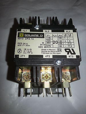 New Old Stock Square D 8910DPA12V09 20Amp 3-Pole Contactor w/208-240VAC coil
