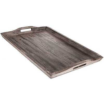 XXL Off White Taupe Rustic Wood Serving Tray, Ottoman Distressed Decor (NO TAX)